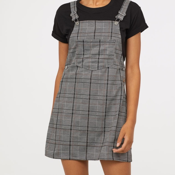 0bd4bfa8df781 H&M Dresses   H M Dark Grey Dungaree Dress Plaid   Poshmark